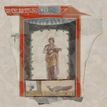Fresco Depicting a Woman (Maenad) Holding a Dish, Peacock and Fruit Below