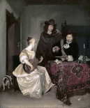 Young Woman Playing The Theorbo To Two Men