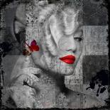 Red Lips- leather dibond - Hans Jochem Bakker