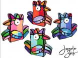 Vreemde vogels serie A 4pcs