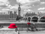 Red hat and bicycle on Thames promenade, London, UK