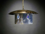 A Metal and Leaded Glass Hanging Shade