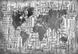Map of the World Black and White
