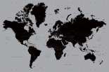 World Map - black and silver