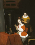 A Young Lady Having Her Hair Combed By a Maid