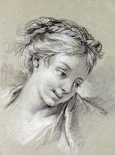 Head of a Girl Looking Down To The Right