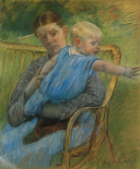 Mathilde Holding A Baby Who Reaches Out To The Right 1889